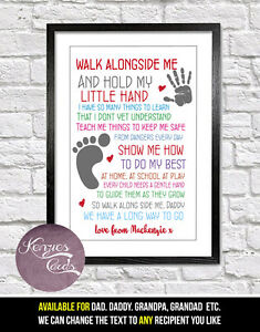 Personalised Hold My Hand Dad Daddy Etc Sweet Poem Art Print
