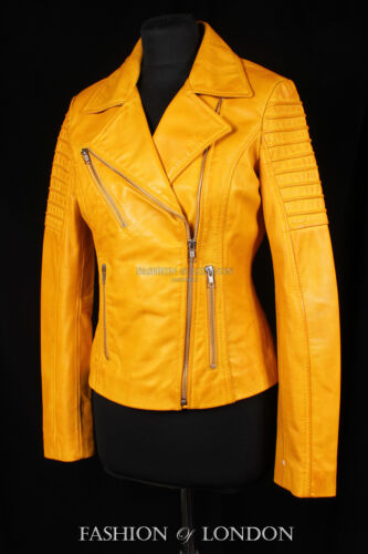 JENNER Ladies Real Leather Jacket Yellow Short Fitted Soft Jacket Biker Jacket