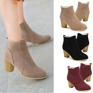 5be2a9ad428f Fashion Women Ankle Boots Thick High Heel Fur Leather Party Winter ...