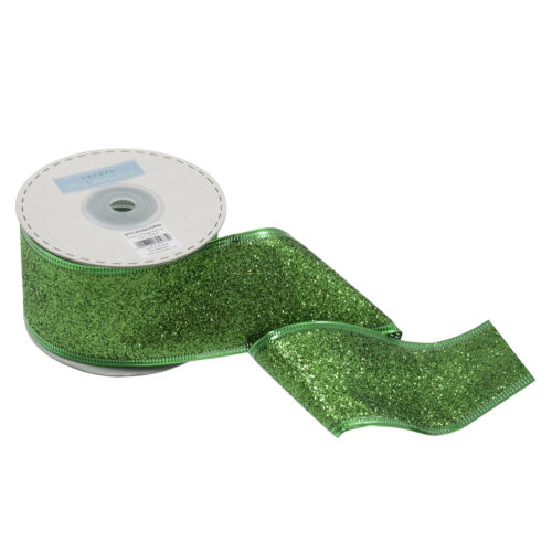 1x Ribbon Wire Edge Glitter 10mx50mm Green Sewing Craft Tool Hobby Art