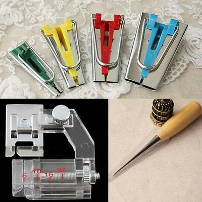 6/12/18/25mm Bias Tape Maker Sewing Awl Binder Foot Kit Set Craft Easy Tools New