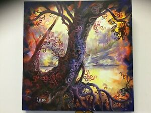 Original-Painting-Tree-of-life-on-stretched-Canvas-46-X-46-X-4-cm