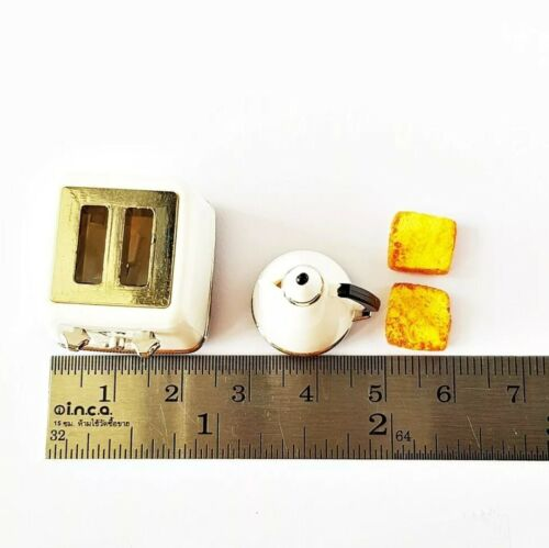 Miniatures Dolls House Accessories White Modern Toaster /& Kettle set1:12th scale