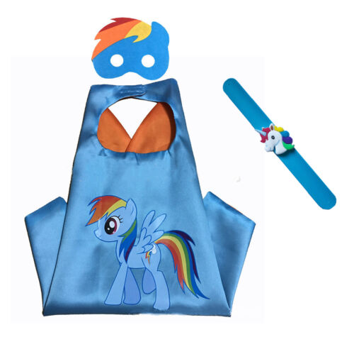 Rainbow Dash My Little Pony Costume Set—Cape Mask and Pops Ring Age 4-10 Kids