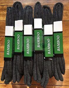 6 Pairs SIZE6-11 98% BAMBOO SOCKS Men's Heavy Duty Premium Thick Work Socks GREY