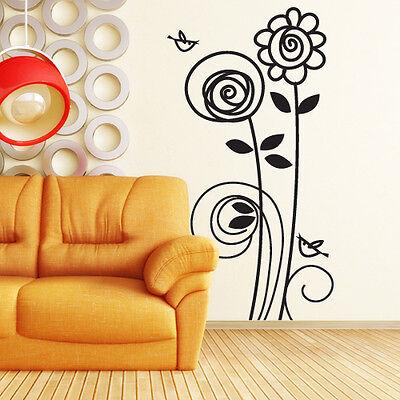 00715 Wall Stickers Sticker Adesivi Muro Murali Girasoli e uccellini 64x120 cm