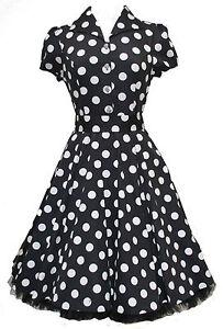 Ladies-40s-50s-Vintage-Style-Black-Big-Polka-Dot-Classic-Shirt-Dress-New-8-26
