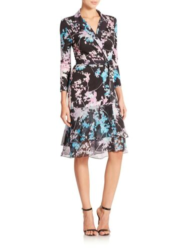 DVF Cathy wrap floral silk dress 0