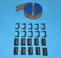 Idc Color Ribbon Cable Connector Kit 12 Ft 16-pin (2x8) , Fast Ship From Usa