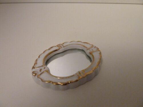 """Casa De Bonecas Em Miniatura 1:12th Escala Banheiro Oval De Ouro Branco e /""""Espelho De Porcelana"""