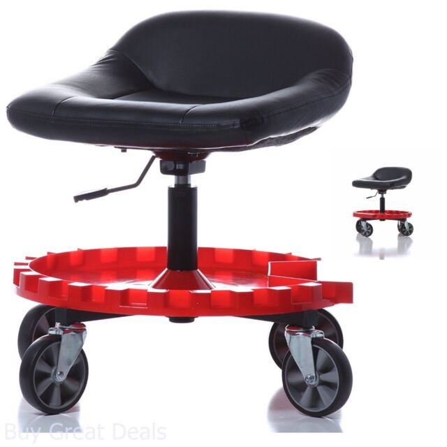 Delicieux Shop Stool Garage Mechanics Upholstered Seat Comfort With Large Casters  Mobility