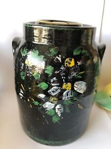 Vintage-Ransburg-Pottery-Hand-Painted-Cookie-Jar-Black-Floral-Heavy-Pot-10