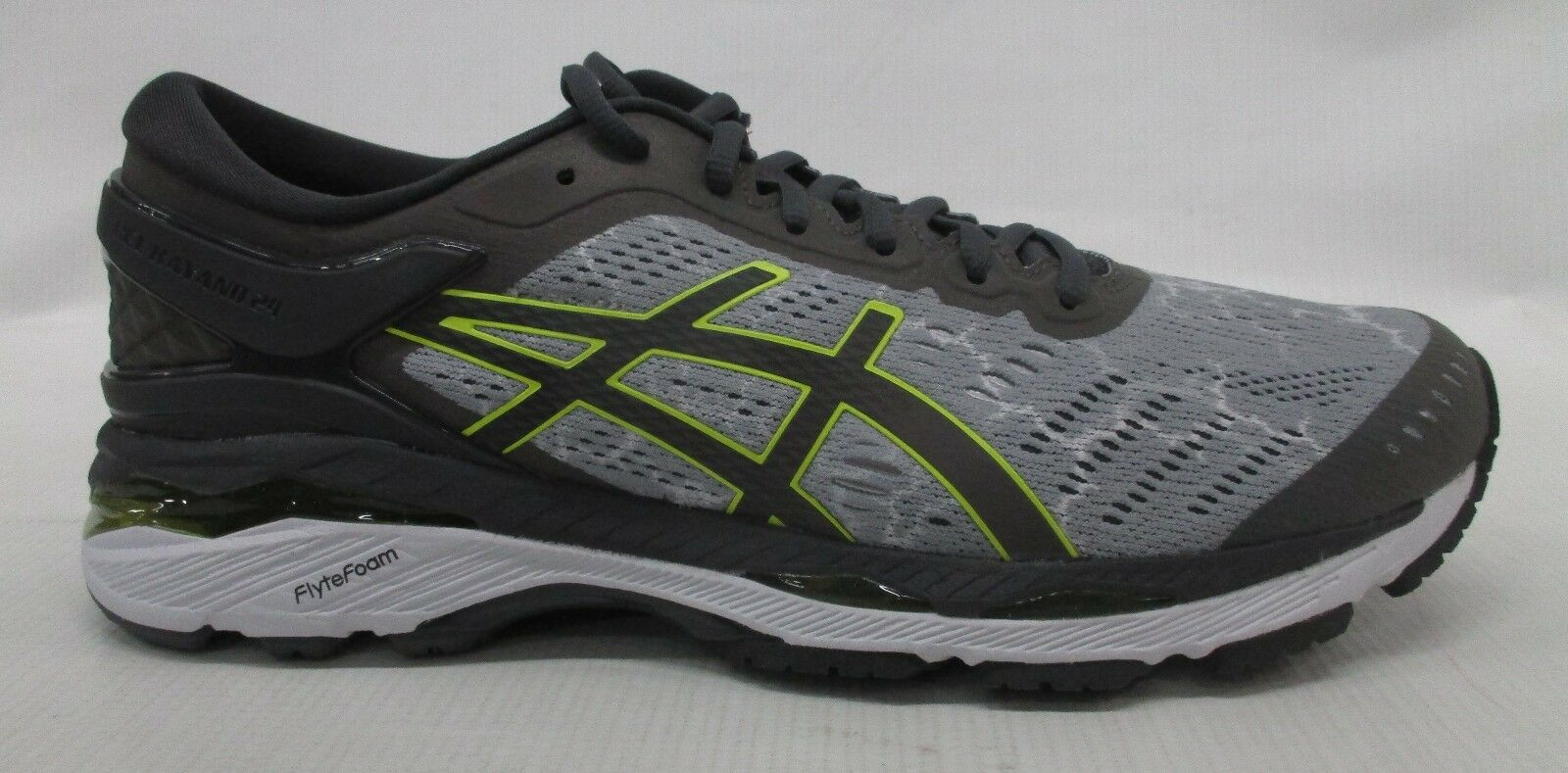 Asics Mens Gel Kayano 24 Lite-Show Shoe T8A4N 9695 Mid Grey/Dark Grey/Yellow 8
