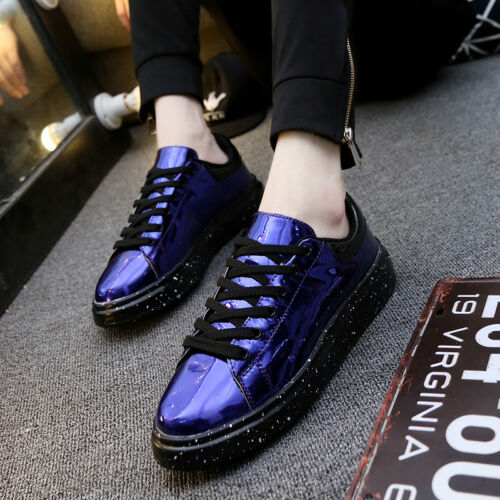 UK Mens Lace up Casual Shoes Sequins Patent Leather Round Toe Shoes Fashion Size
