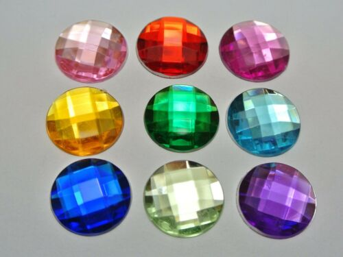 100 Acrylic Flatback Faceted Round Rhinestone Gems 16mm No Hole Color for Choice