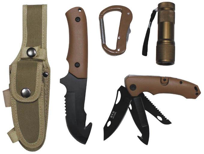 Set de DEL-Lampe couteaux avec DEL-Lampe de Chasse Extérieur Couteau Bowie Coyote Pêcher Survival-Set a09c0e