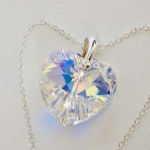 925-Sterling-Silver-Swarovski-Elements-Crystal-AB-18mm-Heart-Necklace-Pendant