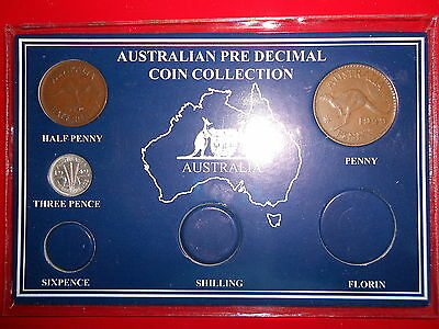 BIRTHDAY GIFT 1951 AUSTRALIAN Pre Decimal 5 coin set IN SPECIAL CARD very Nice