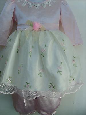 Pearls Puff Sleeves Wedding Birthday Formal Party Dress Pink Baby Sz 9-24m FG296