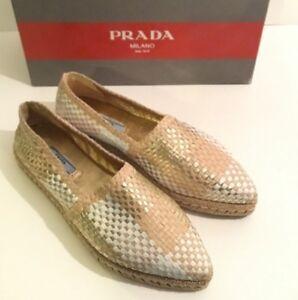 Prada-Woven-Leather-Espadrille-Flat-Gold-White-Size-38-5