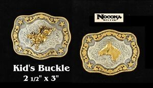 KID-039-S-Bullrider-Horsehead-WESTERN-BELT-BUCKLE-NOCONA-Silver-Gold-Stars-37989