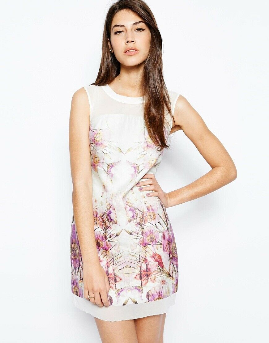Mycket sällsynt Karen Millen Floral Print T Shirt Dress DS168 Silk Storlek 12 ny