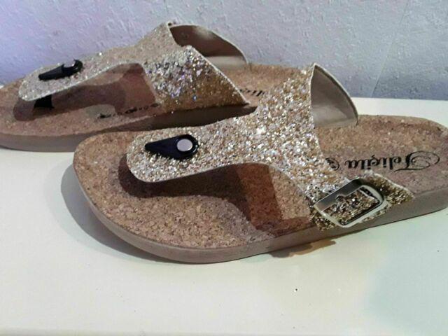 NEU 37 40 Gr: 36 39 41 modisch flippige Sandale in Glitzeroptik Glitzer