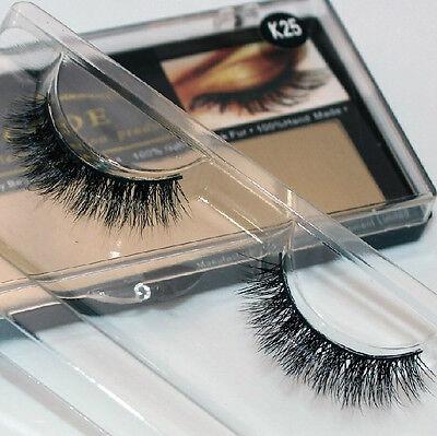 K25 1Pair Makeup Handmade Natural Mink Hair Thick Eye Lashes False Eyelashes