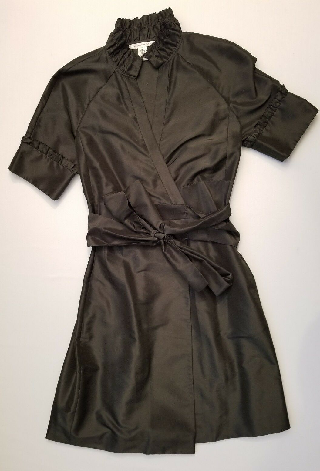 Dian Von Furstenberg Miss Cherie Silk Wrap Dress Forest Grün Stiff Faille Sz 4