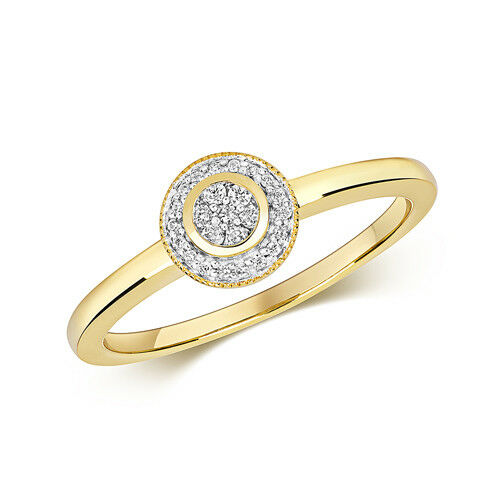 9ct Yellow gold Fancy Diamond Cluster Ring 0.10ct