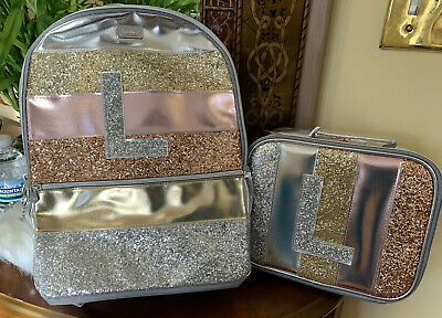 """NWT Justice Girl Glitter Stripe Initial """"K"""" Full Size Backpack /& Lunch Tote Bag"""