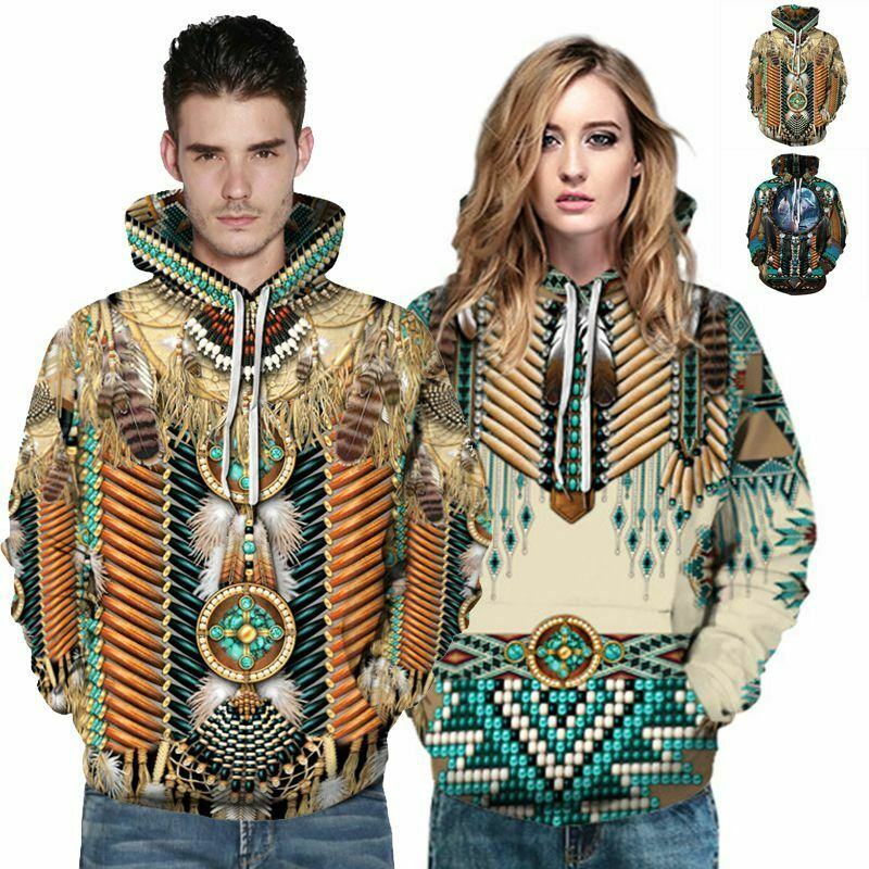 Native American Indian Chief Warrior Costume Ethnic Men/'s Women Pullover Hoodies