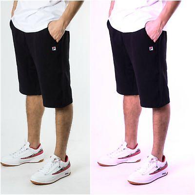 Pantaloncini Fila 682162 Cameron Long Shorts Nero Blu Felpa Cotone Bermuda Uomo