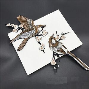 1-Paar-Vogel-gestickte-Patches-Eisen-auf-Nahen-Streifen-fur-Kleidung-Applique