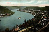 Boppard Mittelrheintal AK ~1910 Panorama Totale Rhein Fluß Landschaft Schiff