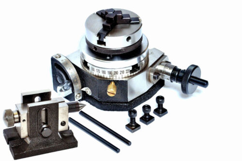 """ROTARY TABLE 3/"""" TILTING with BACK PLATE with 50 MM CHUCK /& TAILSTOCK"""