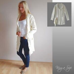 Details zu Damen Jong Jacke Strickjacke Pullover Zopfmuster mit Wolle Gr.42 ecru