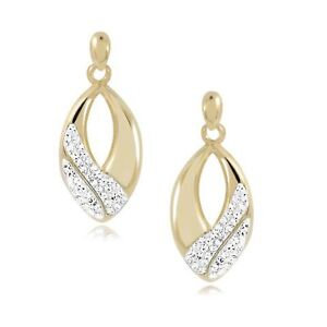 d2f86ea253af6 Details about 9ct Gold Glass Crystal Ladies Earrings
