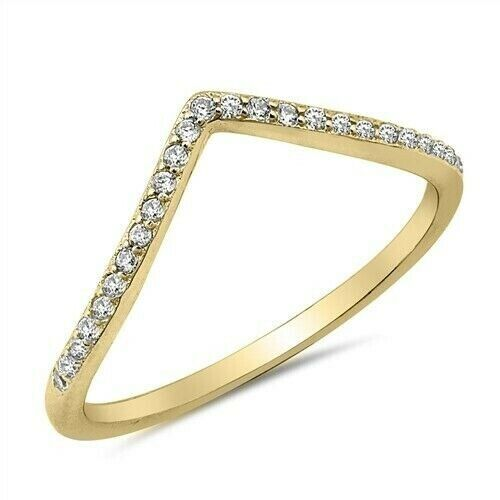 V-Ring Sterling Silver 925 Yellow Gold Plated Clear CZ Face Height 2 mm Size 12