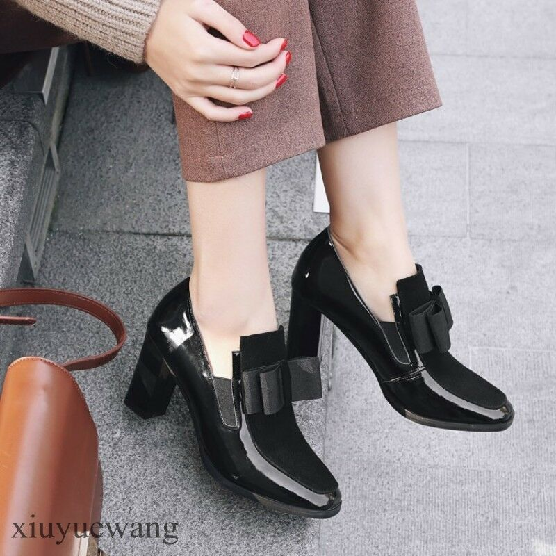 College Girls Womens Retro shoes Pumps New Bowknot Patent Leather Chunky Heel sz