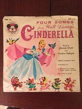Walt Disney's CINDERELLA - Mickey Mouse Club 45 RPM Record Four Songs - DBR 70