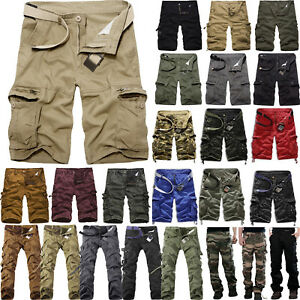 Mens-Cargo-Shorts-Pants-Army-Combat-Tactical-Military-Long-Trousers-Multi-Pocket