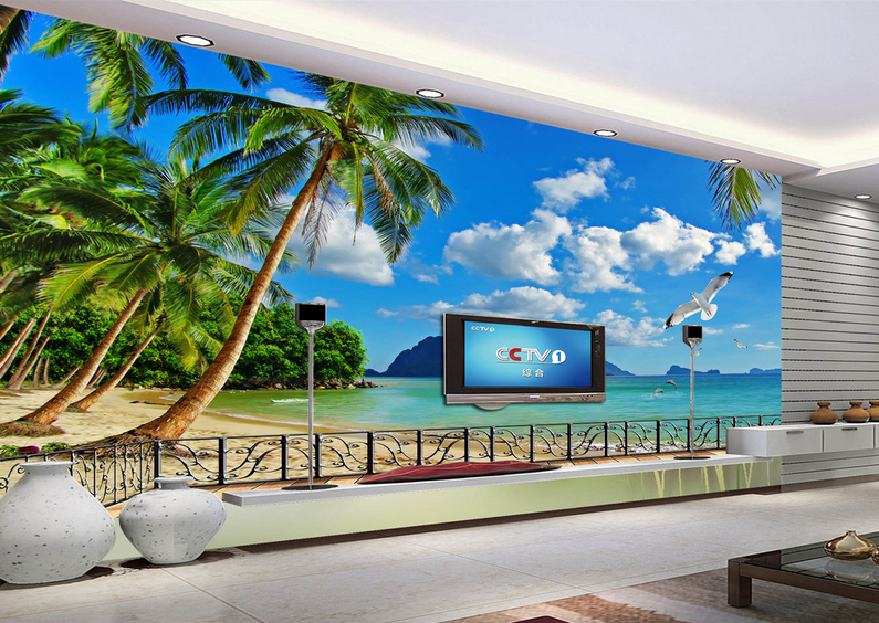 3D Beach Cloud Bird 7 Wall Paper Murals Wall Print Wall Wallpaper Mural AU Lemon