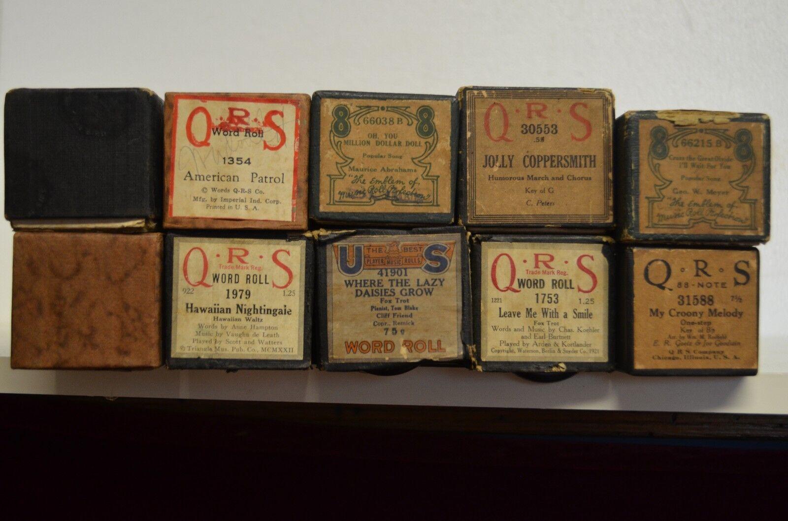 Lote de 10 Rollos De Piano Antiguo Antiguo Antiguo Vintage jugador 1921-1979, llamada a continuación en Caja Original  la red entera más baja