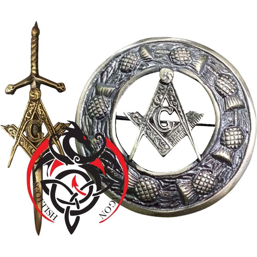 SD Scottish Kilt Fly Plaid Brooch Masonic Antique Celtic Kilts Pin Brooches 3
