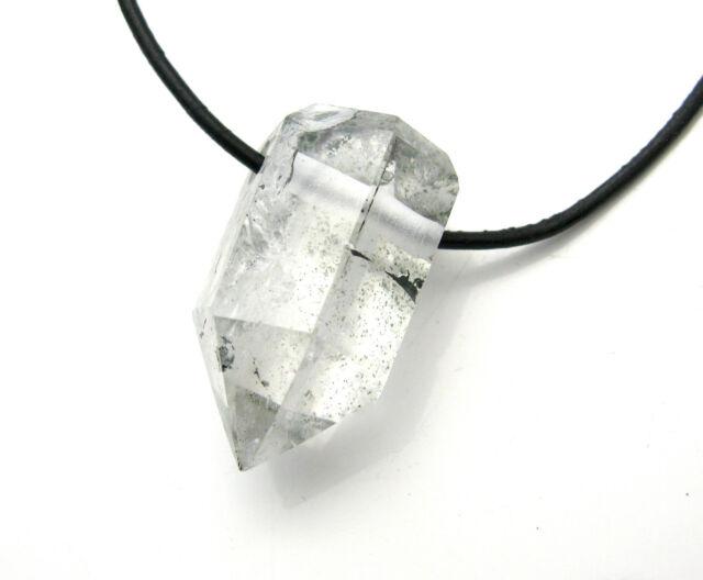 Anhänger Kette Edelsteine Natur Bergkristall Druse Spitze Lederband