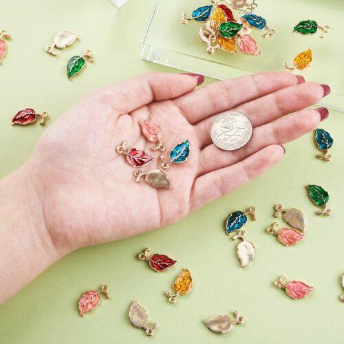 50Pcs Colorful Enamel Leaf Golden Plated Alloy Charms Pendants Crafts 9.5x19.5mm