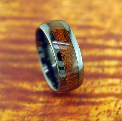 Black Ceramic Wedding Band,Koa Wood,8mm,Dome,Hawaiian,Engagement,Comfort Fit