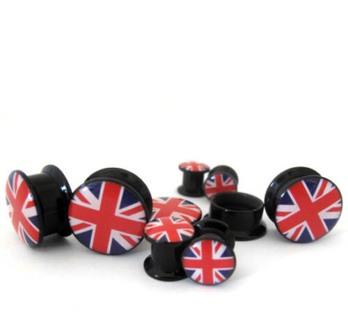 1 Inch  Pick Your Gauge Size New! Single Flare 2G Pair of British Flag Plugs