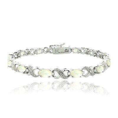 3ct Created Opal & Diamond Accent Infinity Bracelet in Brass
